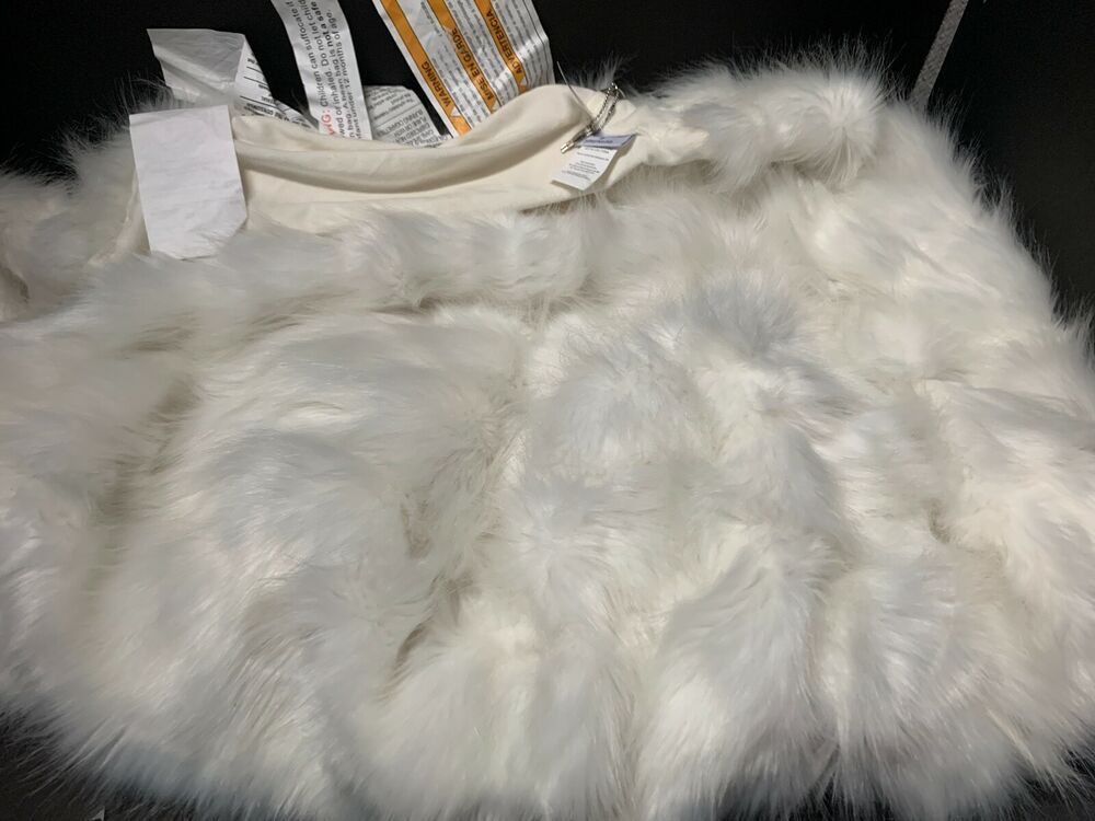Details about pottery barn kid monique lhullier ivory fur
