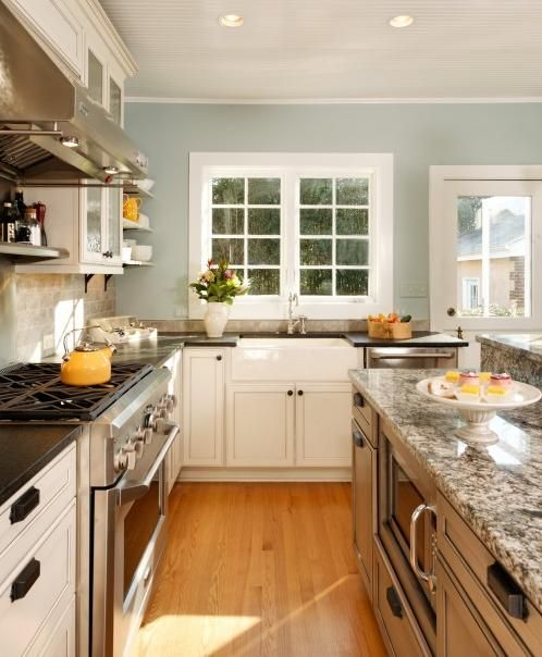 Wall Color, White Cabinets, Gray