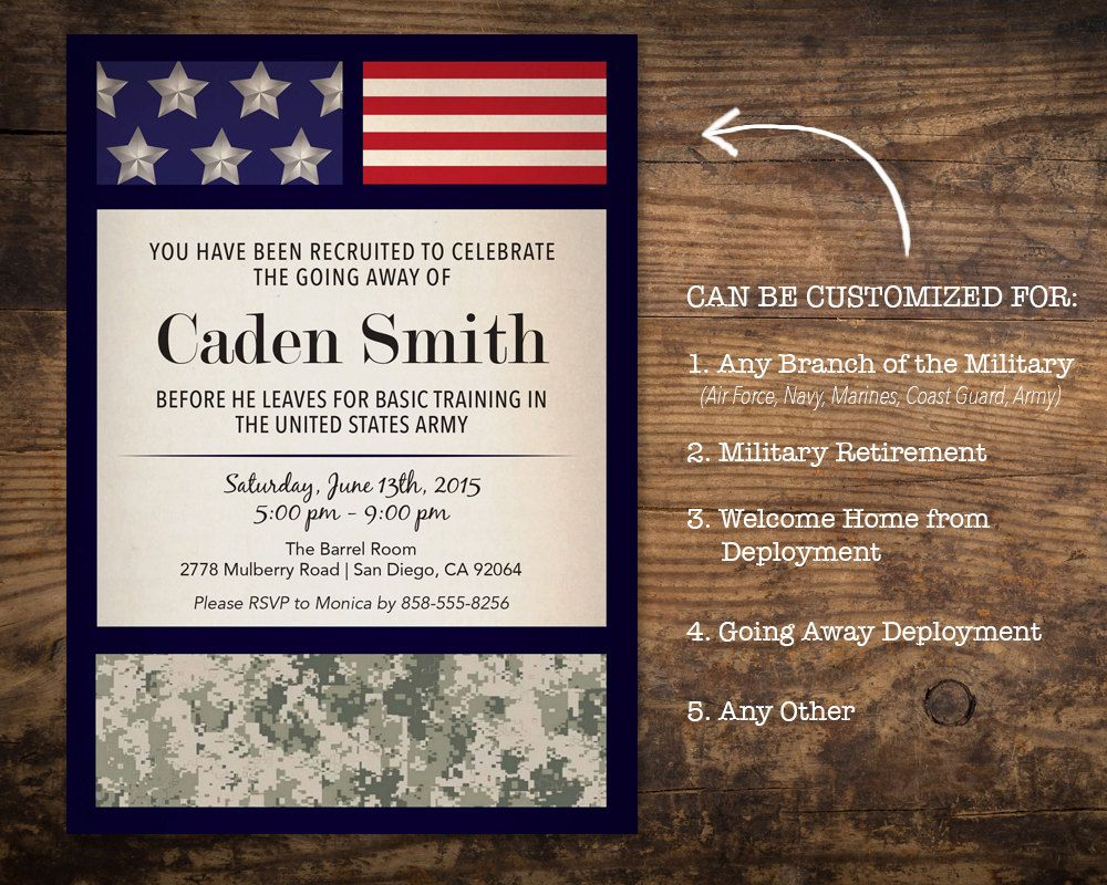 Military Going Away Party Invitation / Deployment Party / Basic ...