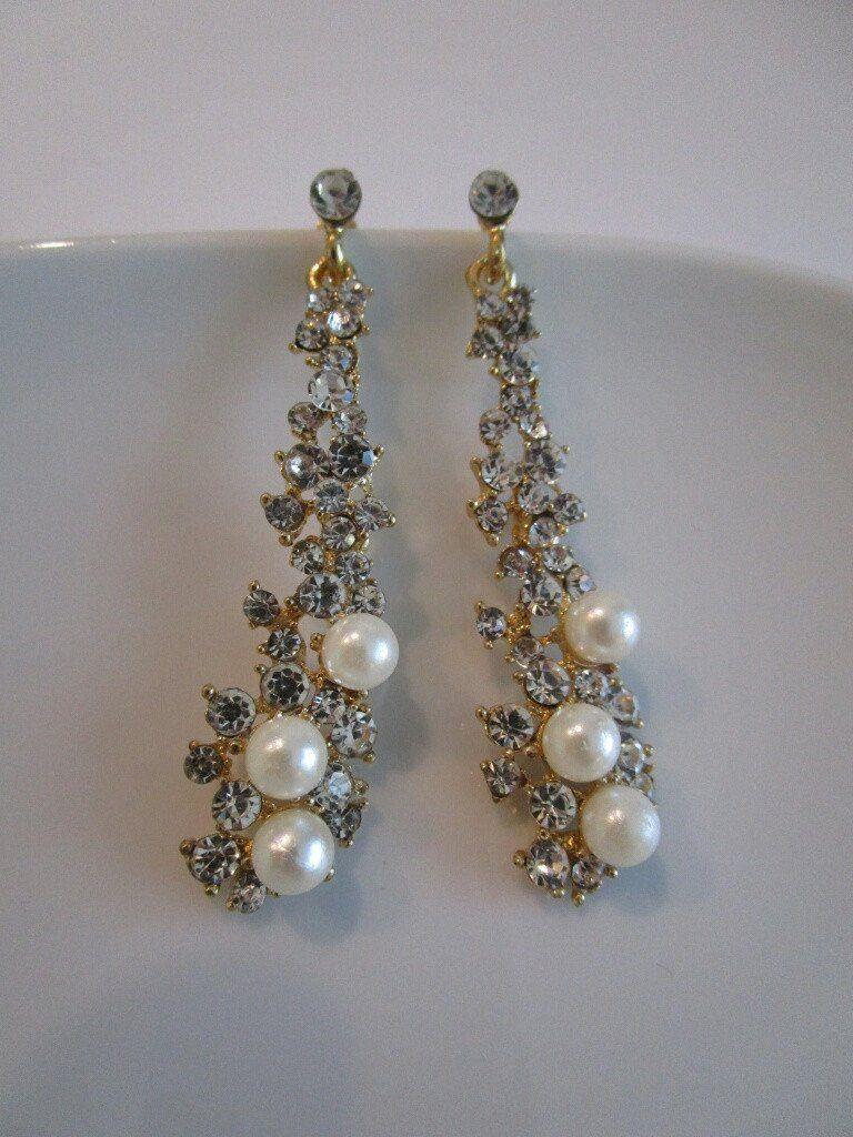 Gold crystal pearl drop earrings bridal earrings