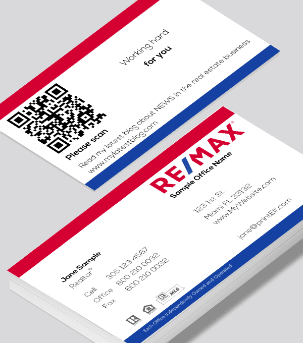 Modern Contemporary Business Card Design Remax Classic Qr Code Business Card Qr Code Business Card Modern Business Cards Design Real Estate Business Cards