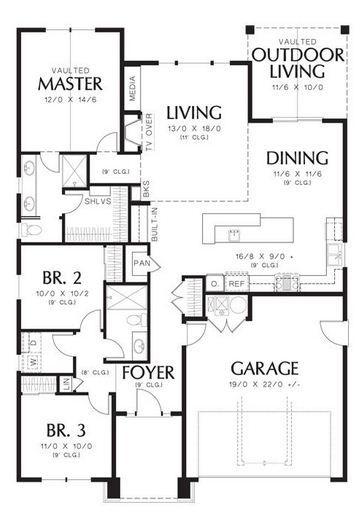 Plano De Casa Moderna Con 3 Dormitorios Y Garaje Doble Planos De Casas Plano De Casa Moderna Planos De Casa De Estilo Rancho