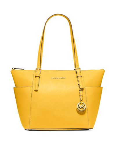 d8df5f2f0b110d MICHAEL MICHAEL KORS Jet Set Top-Zip Saffiano Tote Bag, Sunflower. # michaelmichaelkors #bags #shoulder bags #hand bags #leather #tote #lining
