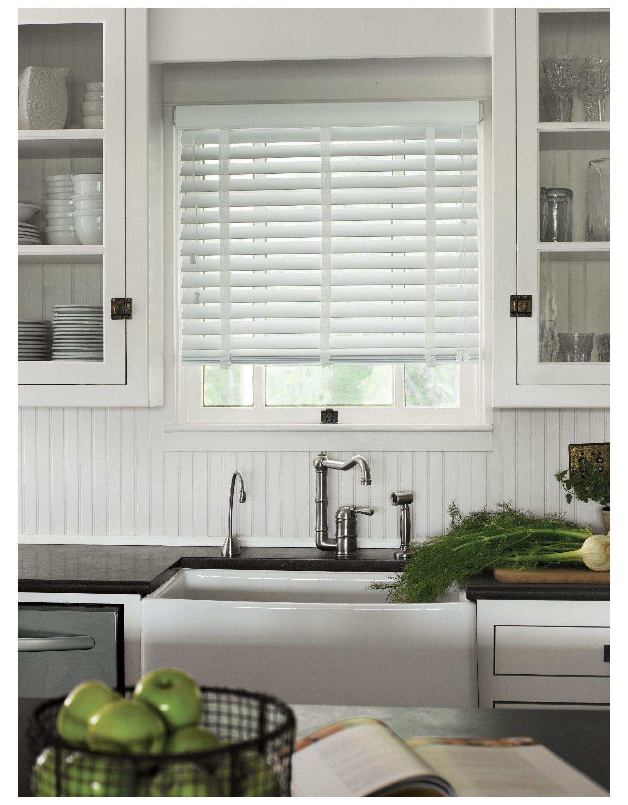 Wood Blinds Modern Kitchen Window Treatments Over Sink Modernkitchenwindowtreatmen In 2021 Modern Kitchen Window White Kitchen Windows Kitchen Window Treatments