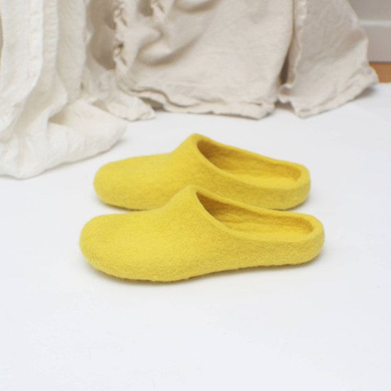 Felted slippers for women  Home shoes  Yellow shoes  Wool shoes  Woolen clogs  Felted clogs  Valenki  Bride slippers is part of Yellow Home Accessories Shops - jurgaZa section id 12683406&ref shopsection leftnav 9