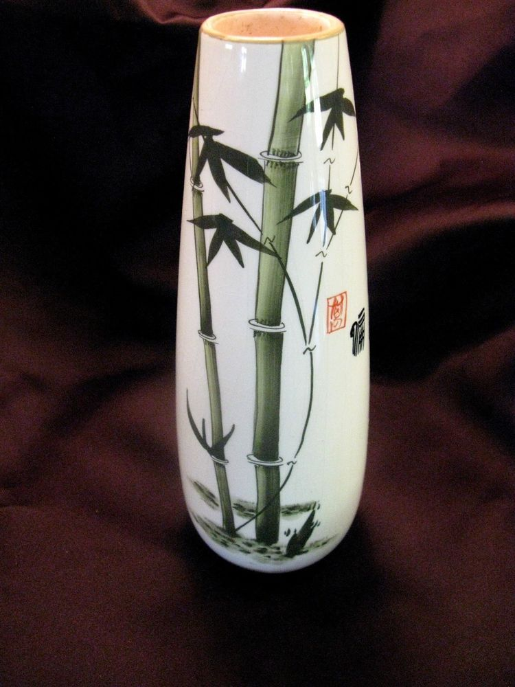 Vintage Asian Hand Painted Bamboo Stalk Pottery 10 Quot Vase