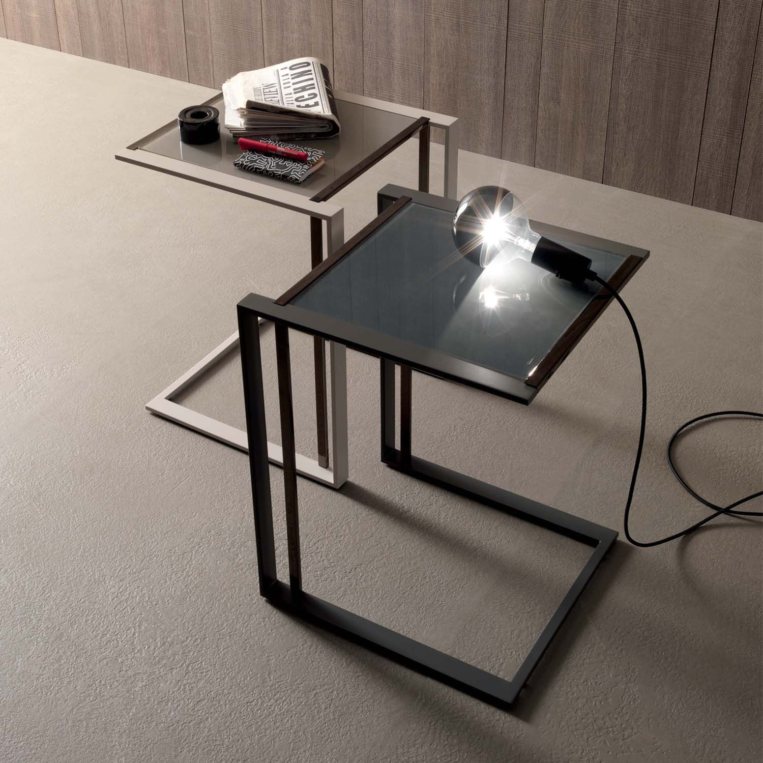 Sofa Side Table Square By Compar In Beige Or Ash Grey L 45 W 48 H At My Italian Living Ltd Sofa Side Table Modern Glass Coffee Table Contemporary Glass Coffee Tables