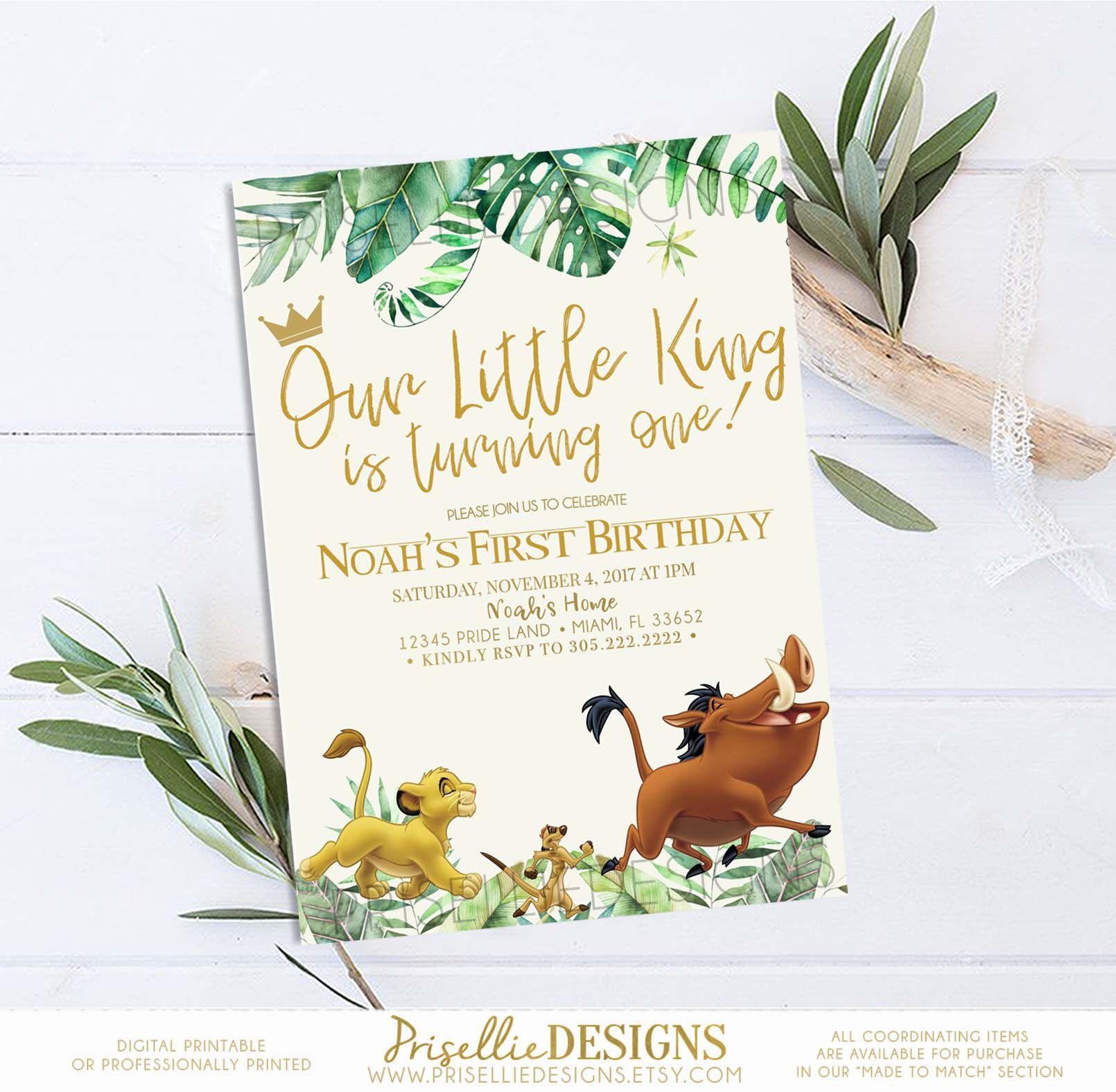 Simba Birthday Invitation, Lion King Birthday Invitation, Baby Simba ...