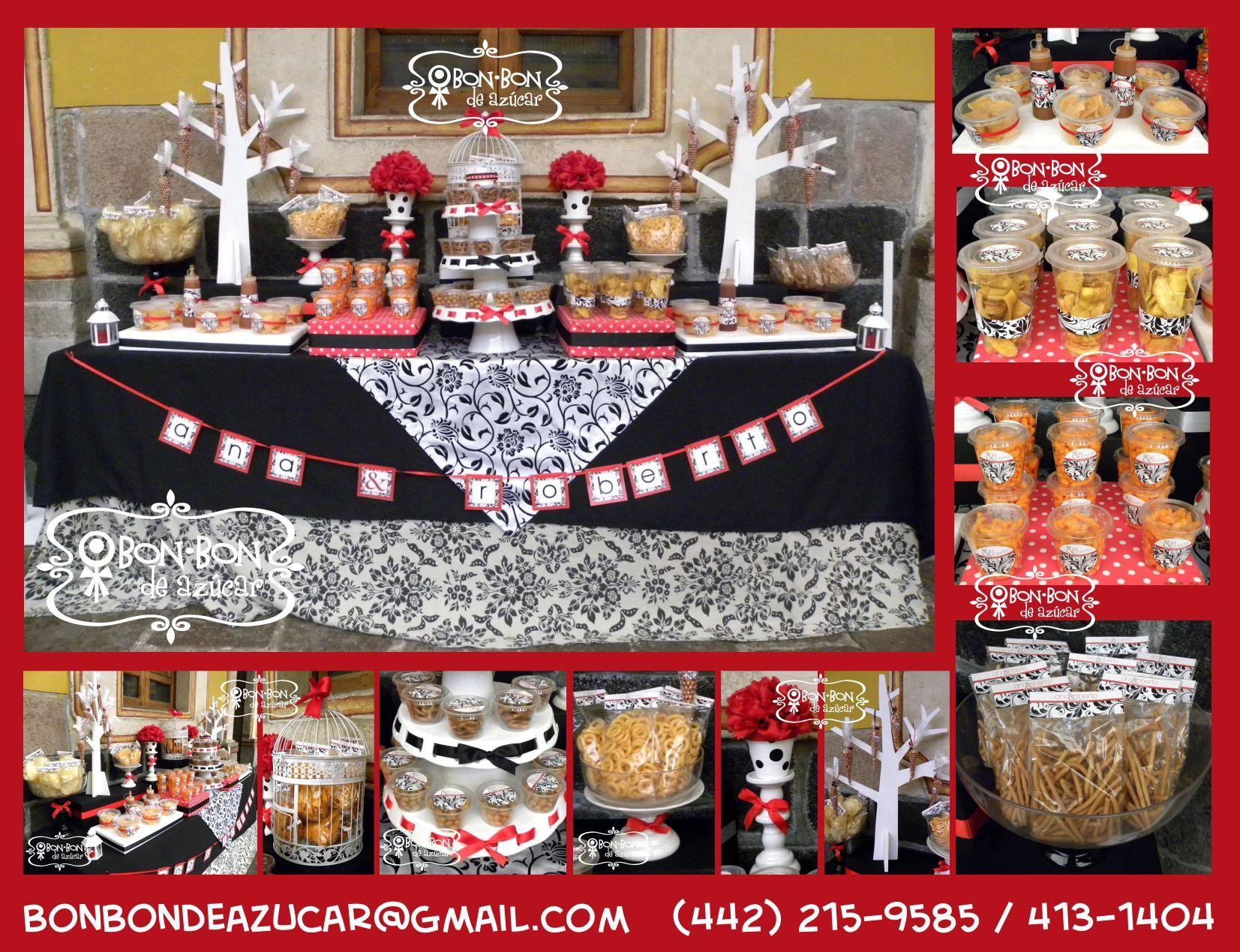 Mesa de snacks salados para antes del banquete de bodas - Mesa de dulces para bodas ...
