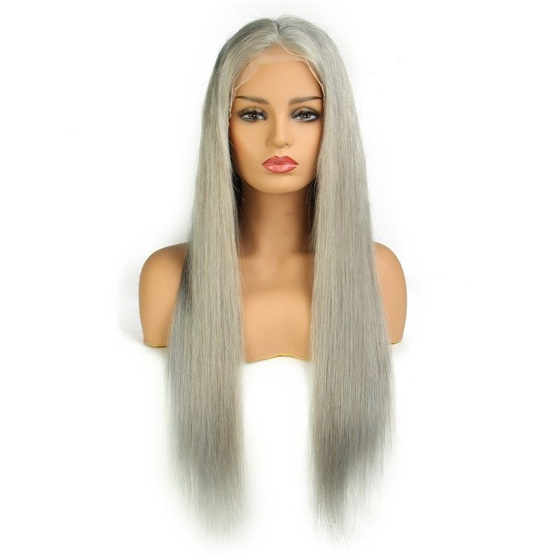 Silver Gray Long Straight Lace Remy Human Hair Wig #humanhairextensions