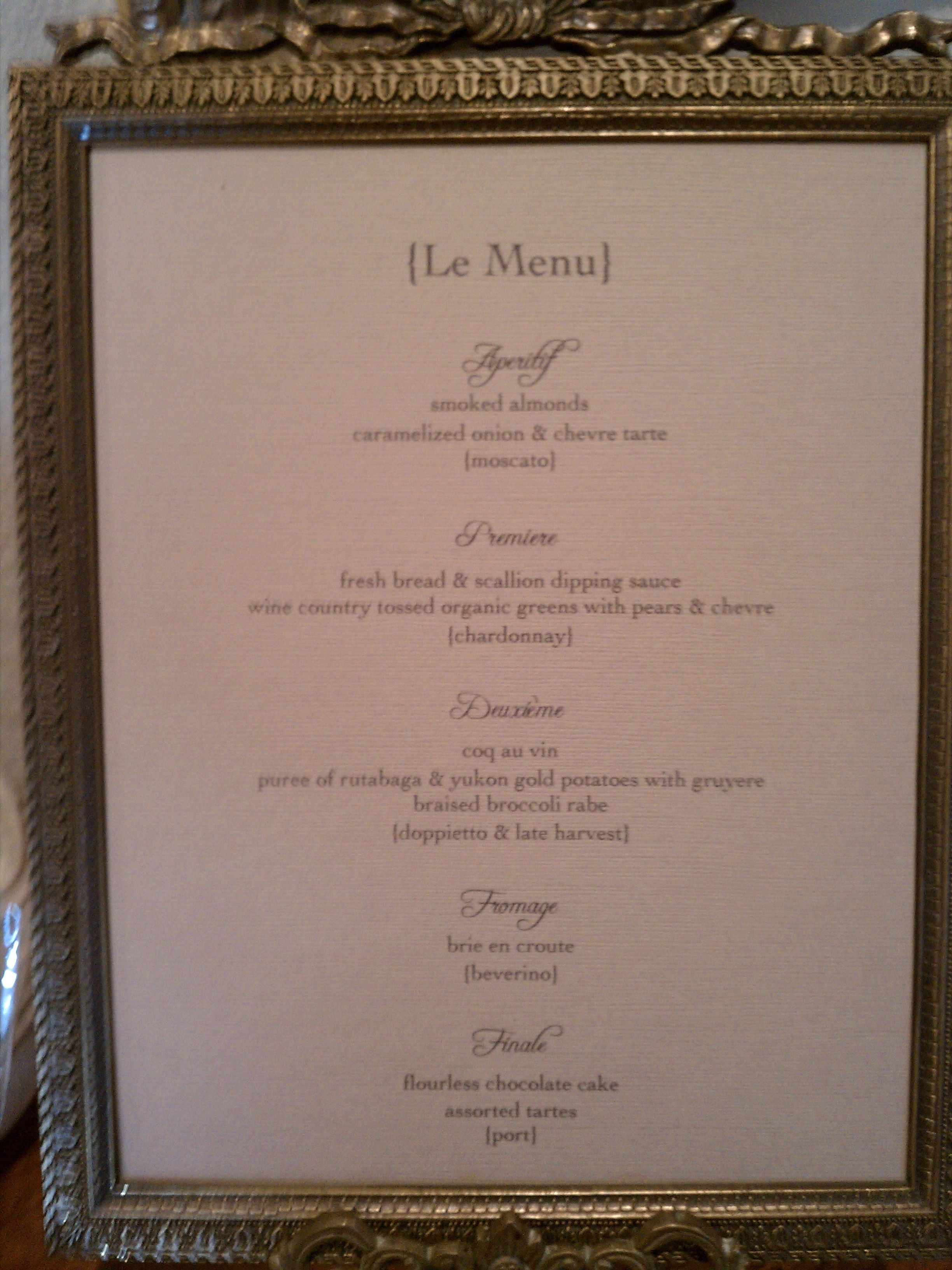 I Printed Our French Menu Complete With The Wine Pairings And