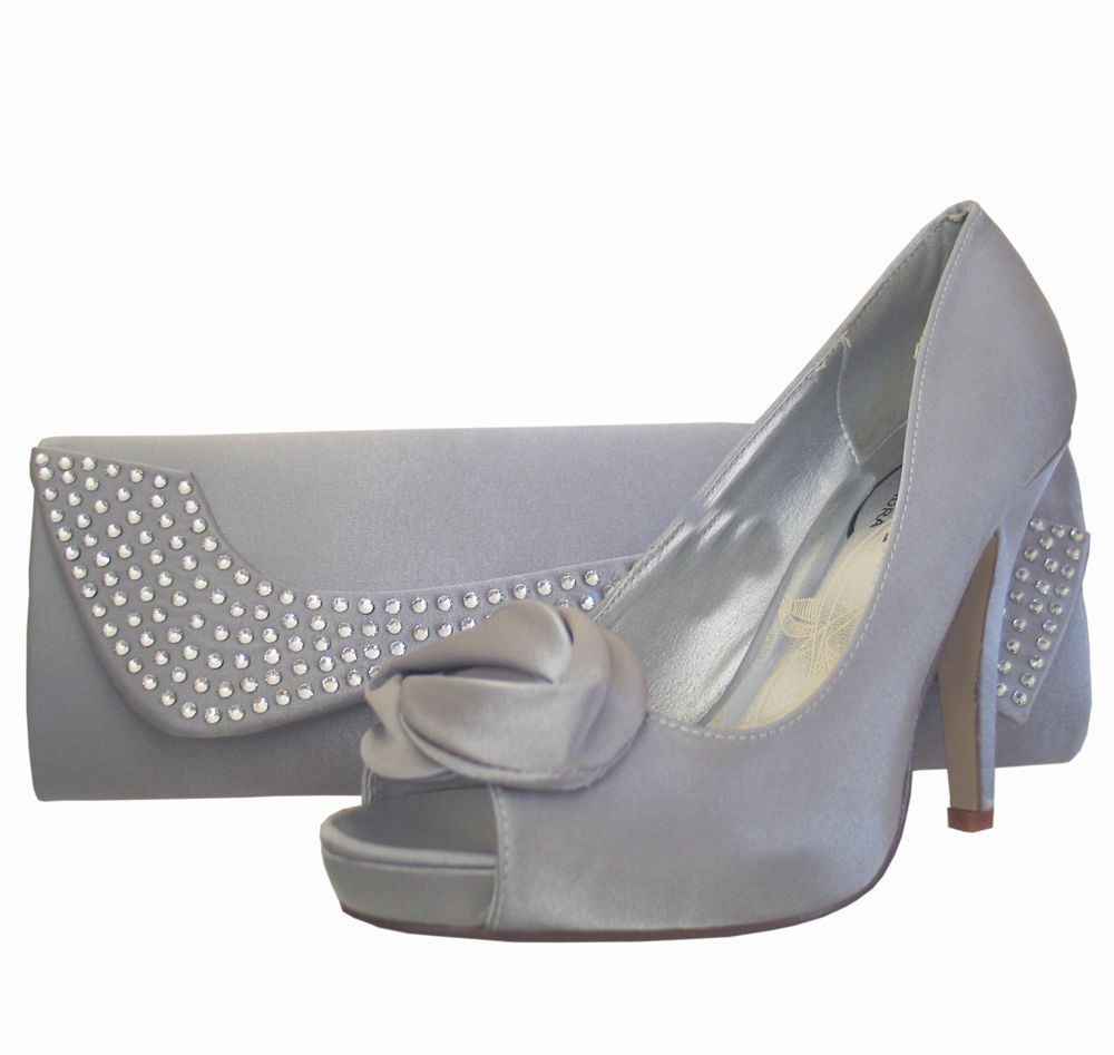 200c45b373 Ladies Silver Satin Peep Toe Shoe & Matching Clutch Bag. Perfect for  weddings and special occasions