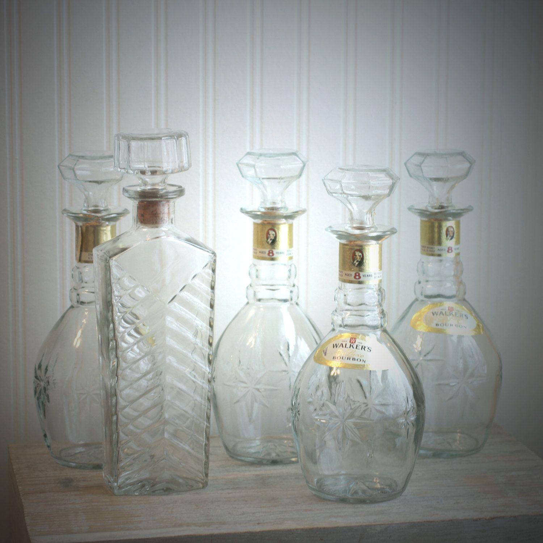 Liquor Bottle Centerpieces: Walkers Bourbon Bottle, Decanter Bottle, Liquor Bottle