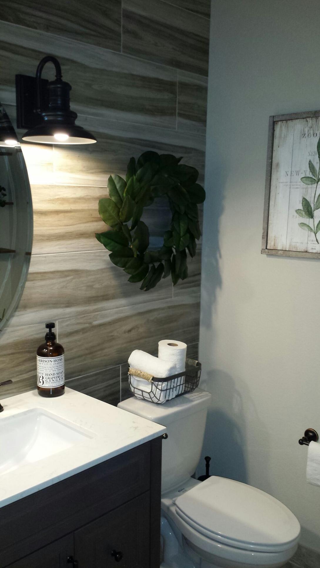 Rustic Modern Half Bath With Images Modern Bathroom