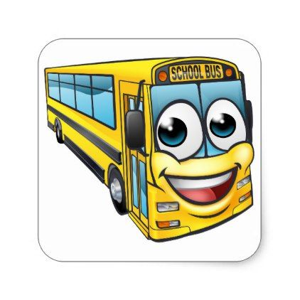 School Bus Cartoon Character Mascot Square Sticker Kids Kid