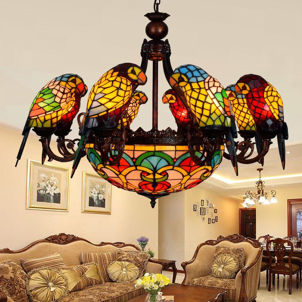 European retro 6 8 heads living room dining room parrot chandelier european retro 6 8 heads living room dining room parrot chandelier tiffany stained glass restaurant pendant arubaitofo Images