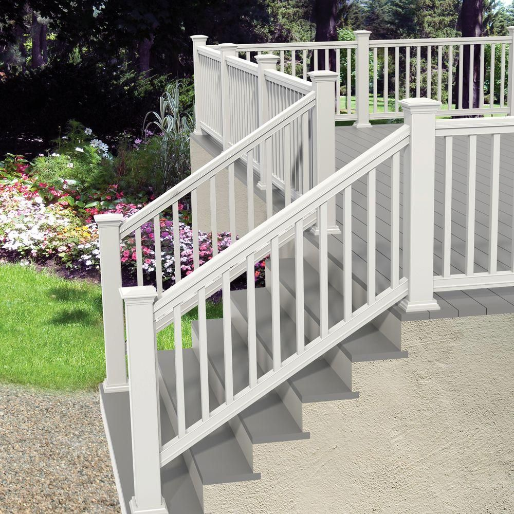 Veranda Pro Rail 6 Ft X 36 In White Polycomposite Stair Rail Kit Without Brackets 73013129 The Hom Outdoor Stair Railing Deck Stair Railing Exterior Stairs