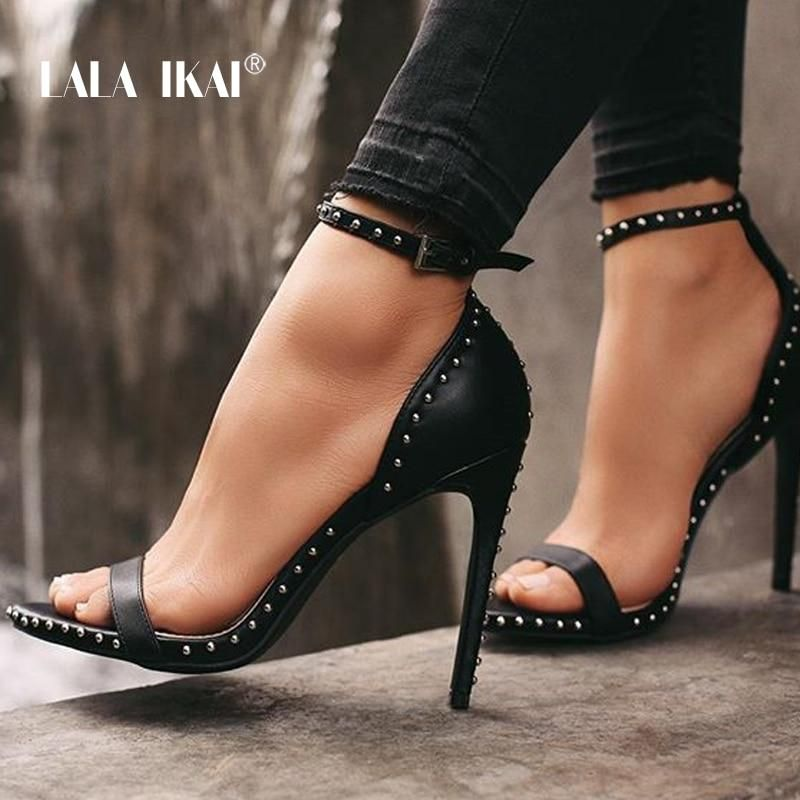 34b155bd3a27 LALA IKAI Women Leather Rivet High Heels Sexy Ankle Peep Toe
