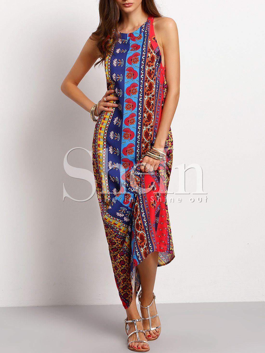4744e077b4 Shop Multicolor Sleeveless Vintage Print Maxi Dress online. SheIn ...