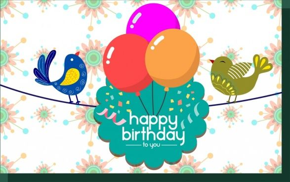 Birthday Card Template Colorful Birds And Balloons Decoration Birthday Card Template Free Free Birthday Card Cool Birthday Cards