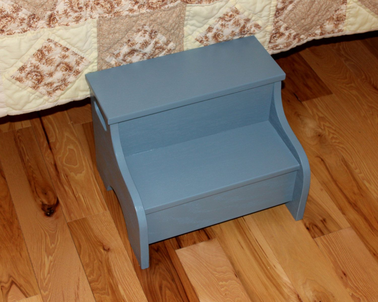 Kids painted wooden step stool (Slate Blue) by Clemswshop on Etsy ...
