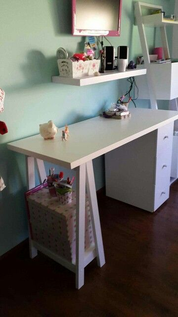 escritorio blanco cajonera caballete