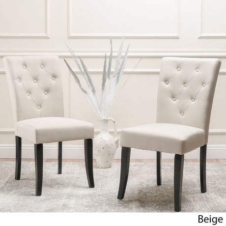 Groovy Noble House Marla Beige Tufted Dining Chair 2Pk Beige In Creativecarmelina Interior Chair Design Creativecarmelinacom