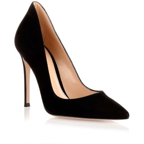 Gianvito Rossi Nero suede Ellipsis Pump ( 790)   790)  liked on Polyvore 98c885