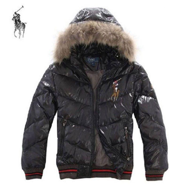 Polo Ralph Lauren Fur Hooded Big Pony Down Coat Black