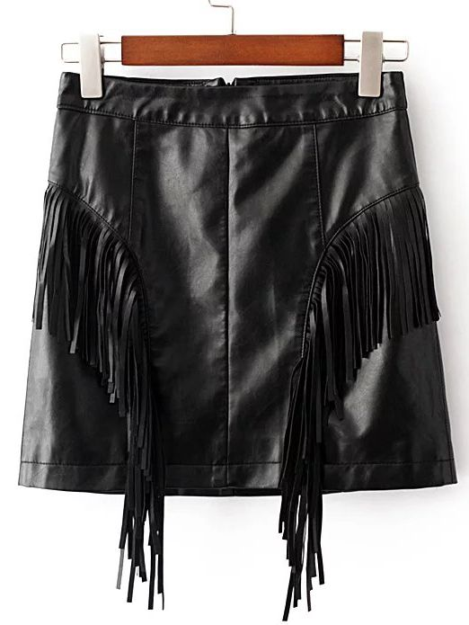 Shop Black Fringe Detail Pu Skirt online. SheIn offers Black Fringe Detail Pu Skirt & more to fit your fashionable needs.