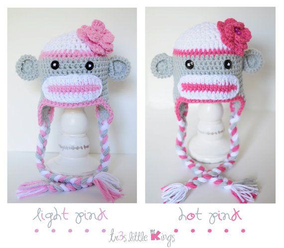 Sock Monkey Hat Girl  Dusty, Light,Hot Pink or Purple. Baby,Toddler,Crochet
