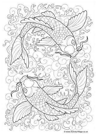 Japan Colouring Pages  Fish coloring page, Coloring pages, Cat