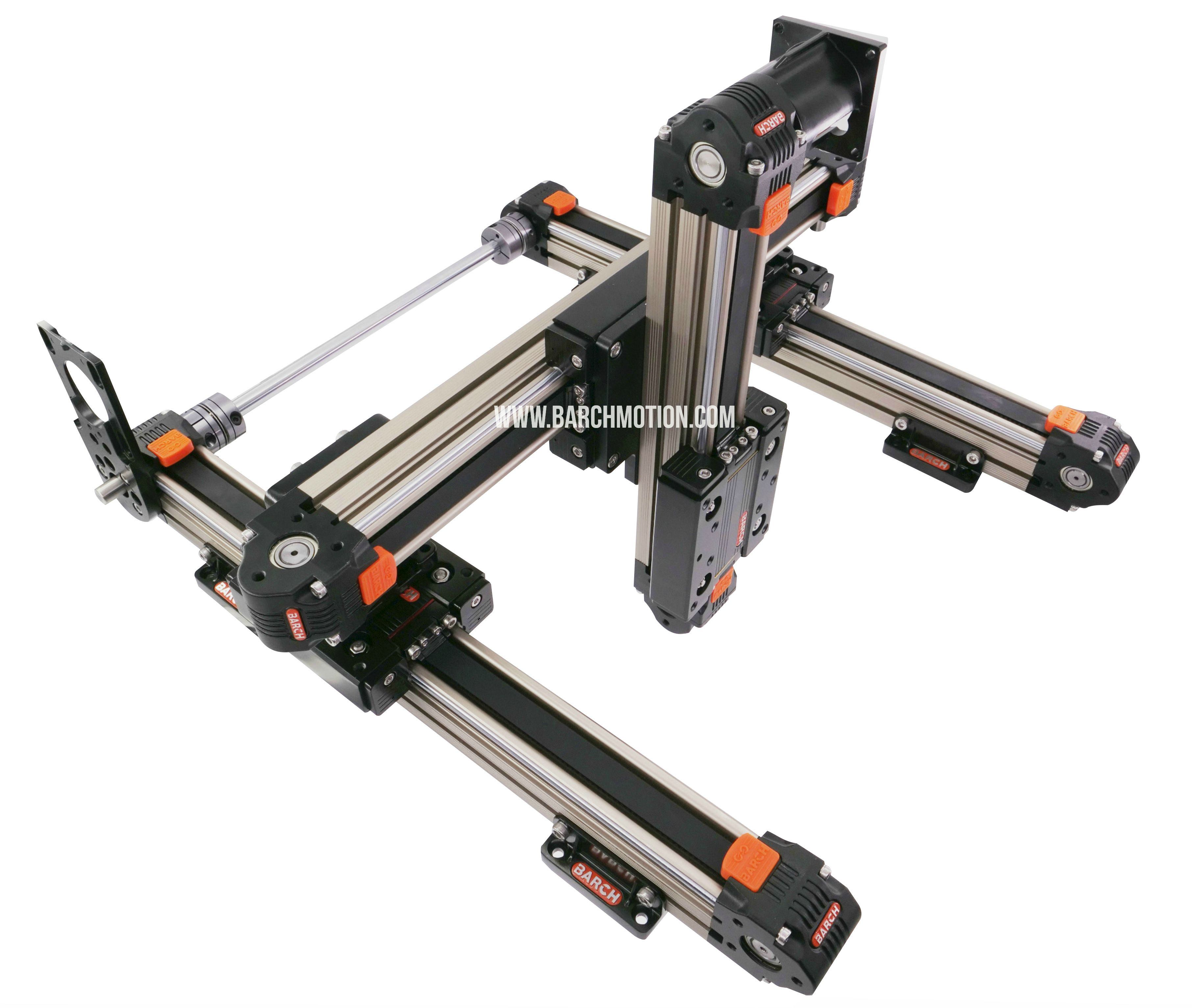 Belt thooted linear actuator, X,Y,Z gantry system, linear guides for