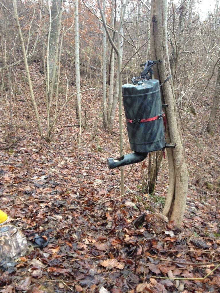 Image result for BLUE BARREL DEER FEEDER Deer feeders