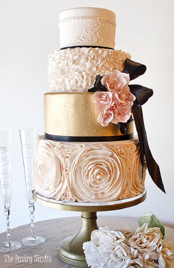 Elegant Wedding Cake Blush And Gold Weddingcake