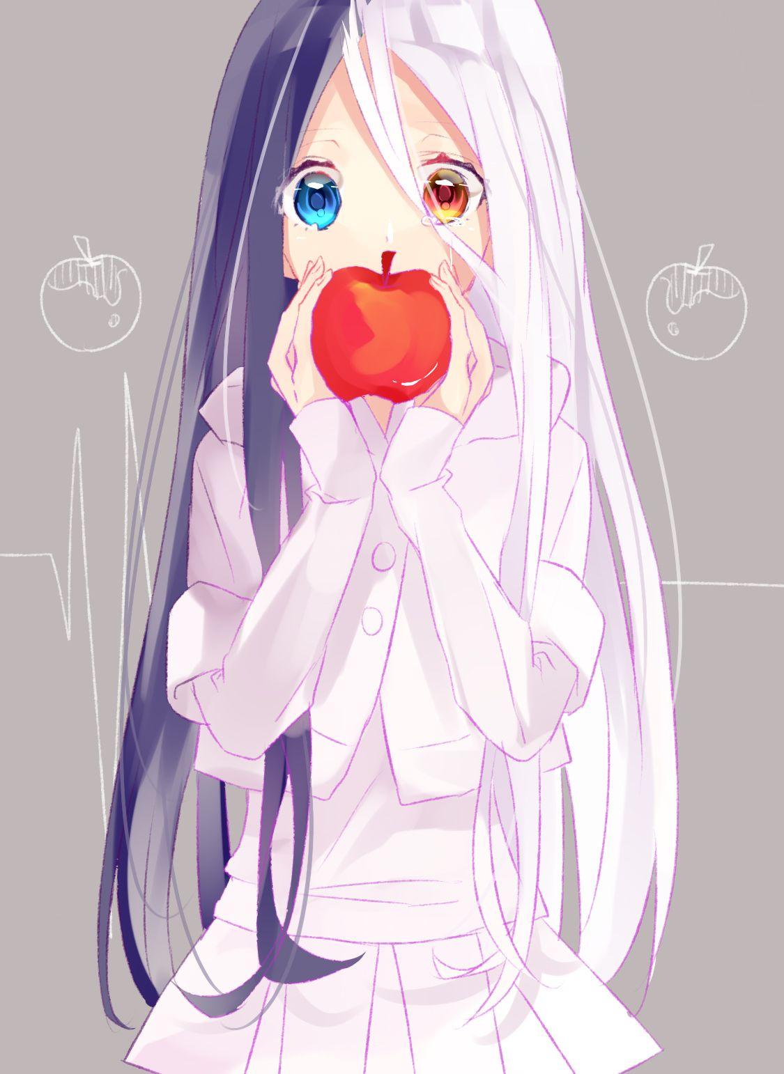 anime anime girl crying long black hair long white hair blue