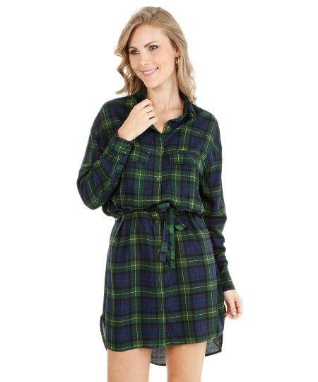 Vestido Chemise Xadrez Verde
