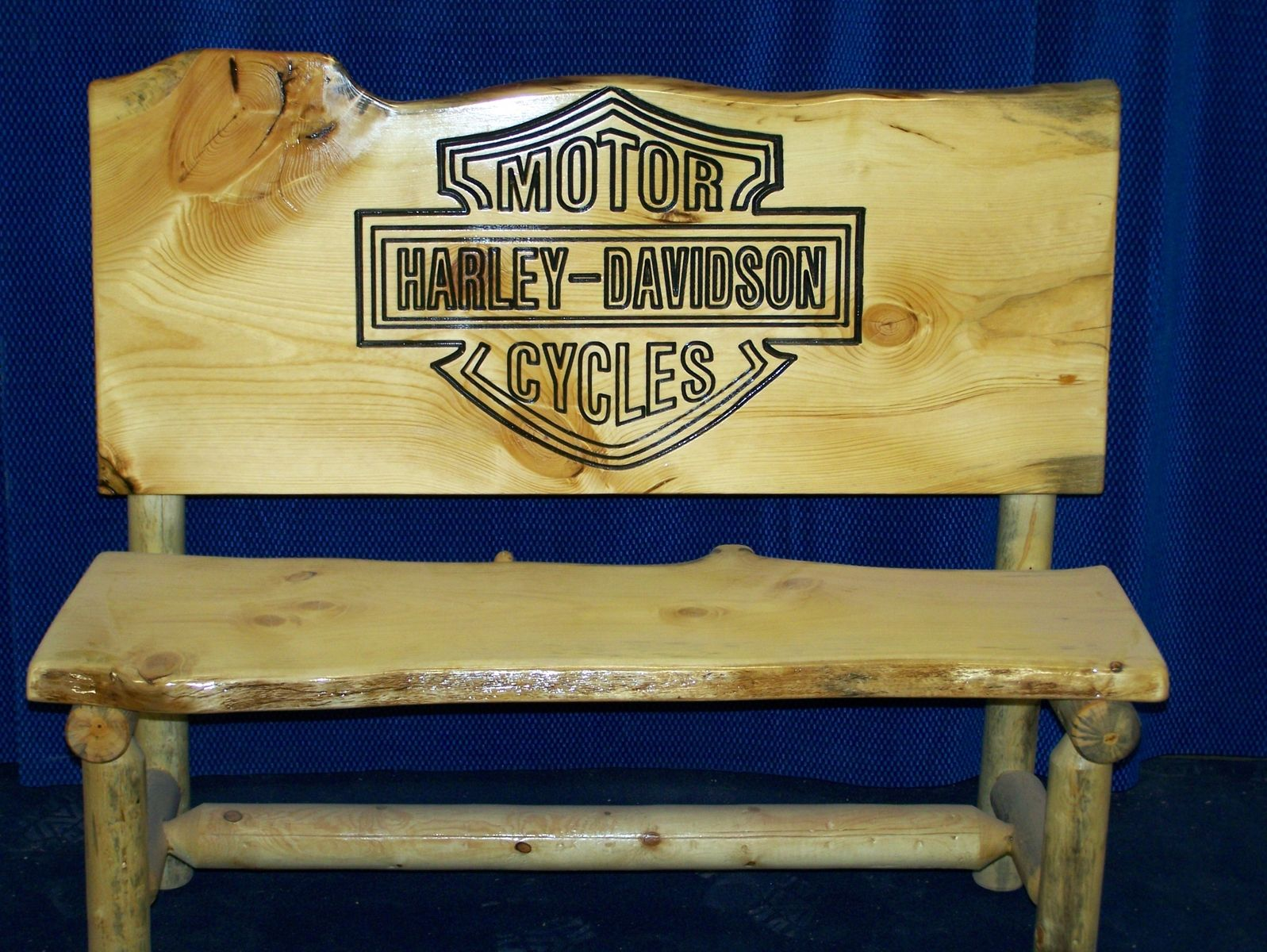 Harley Davidson Log: Hand Made Rustic Log Cattle Bench By Fbt Sawmill & Custom