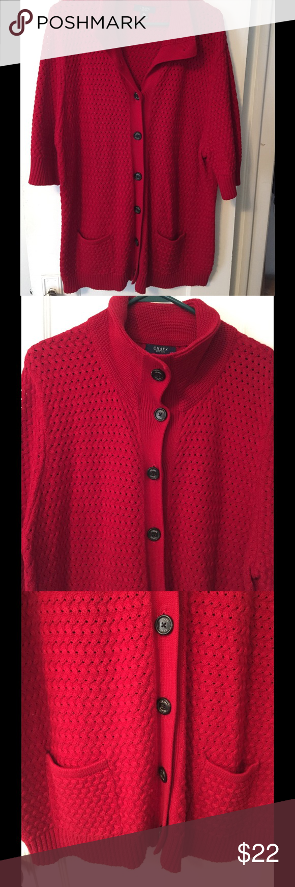 Chaps plus size 3x red short sleeve cardigan | Shorts, The office ...