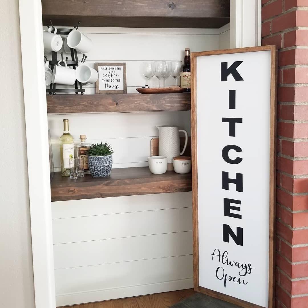 Kitchen always open large farmhouse framed sign custom