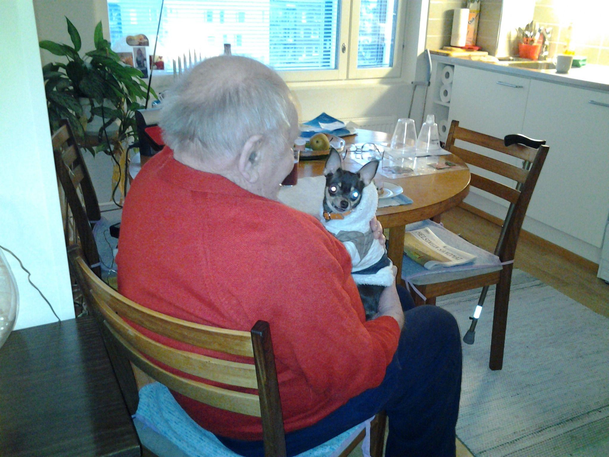 Elina otti pienen koiransa Lucian mukaan iltakäynnille Aarnen 85v luokse. Aarne oli hyvin innostunut tästä.