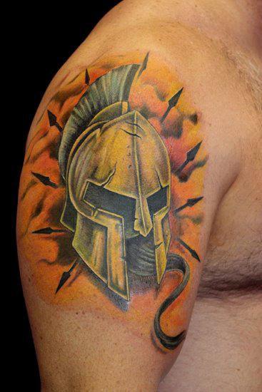 Spartan Armor Helmet Tattoo by Paris Pierides | Tattoos ...