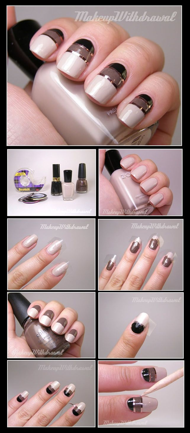 Tutorial Metallic Striping Tape Nail Art Nails Nailart
