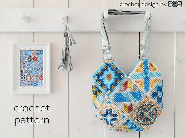 Crochet Bag Pattern Inspired By Portuguese Tiles Pattern Tunisian