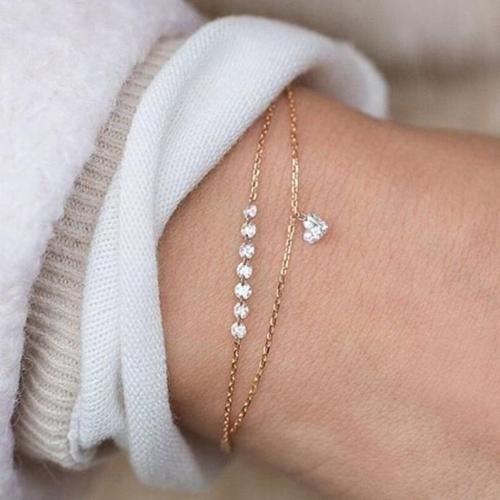 Photo of Fashion Double Layer Heart Crystal Bracelet