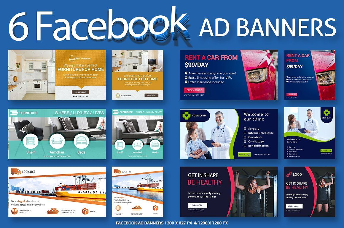 6 Facebook Ad Banners - SK #Ad#Banners#REA#colors   Banner