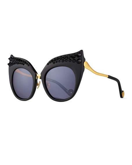 25a2521f04 Black Moon Studded Ultra Cat-Eye Sunglasses
