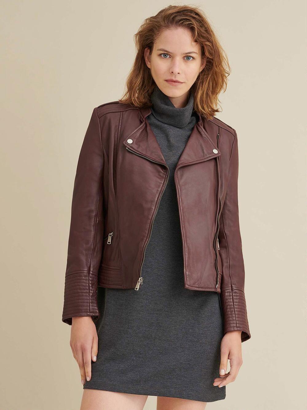 Monica Asymmetrical Leather Jacket [ 1333 x 999 Pixel ]