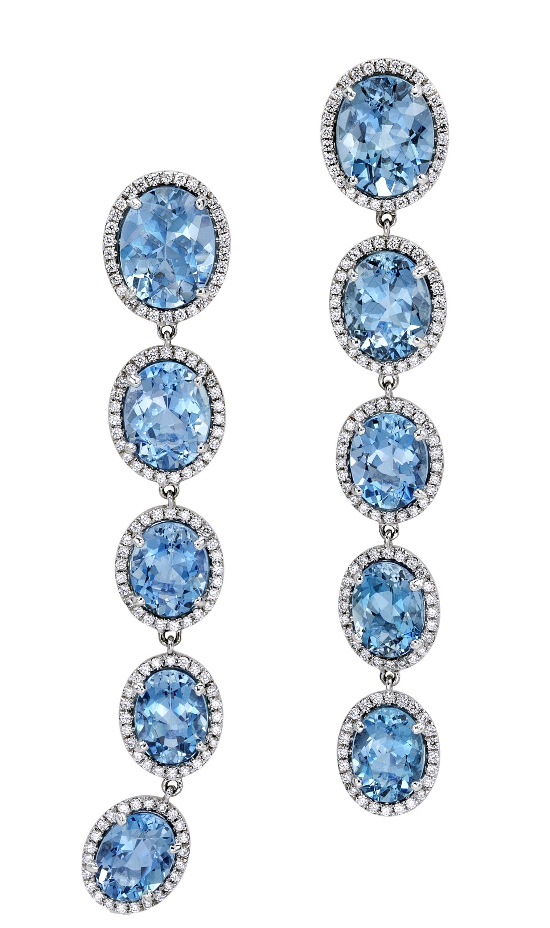 Mish New York Comet Tail Earrings with Aquamarine with white diamond pavé | mishnewyork.com #mishnewyork #mishjewelry