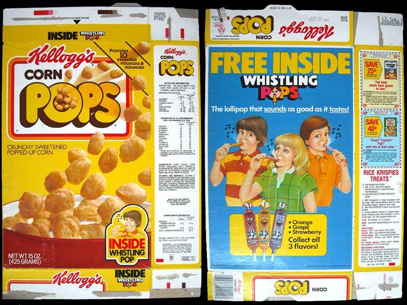 Kellogg's Cereal Recall | Kellogg's Corn Pops cereal box - Whistling Pops offer - 1987 - Image ...